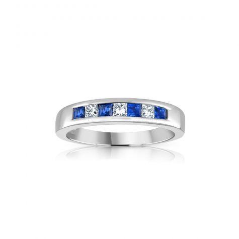 9ct White Gold Princess Cut 0.20ct Diamond & 0.35ct Blue Sapphire Eternity Ring