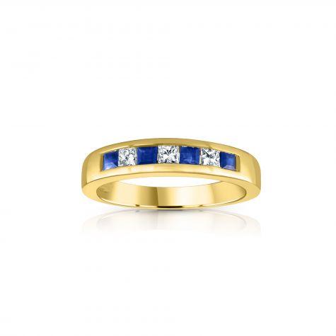 9ct Yellow Gold Princess Cut 0.20ct Diamond & 0.35ct Blue Sapphire Eternity Ring