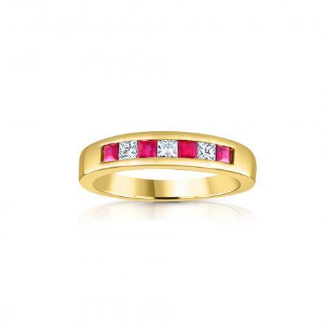 9ct Yellow Gold Princess Cut 0.20ct Diamond & 0.35ct Ruby Eternity Ring