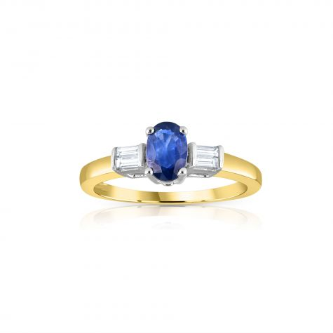9ct Yellow Gold Baguette Cut 0.11ct Diamond & 0.60ct Blue Sapphire Ring