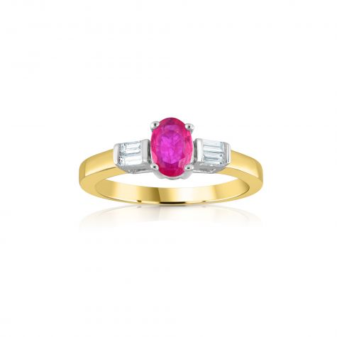 9ct Yellow Gold Baguette Cut 0.11ct Diamond & 0.60ct Ruby Ring