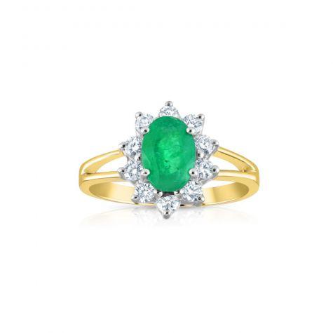 9ct Yellow Gold 0.36ct Diamond & 0.79ct Emerald Cluster Ring