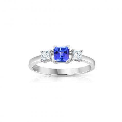 18ct White Gold Princess Cut 0.20ct Diamond & 0.50ct Tanzanite Ring