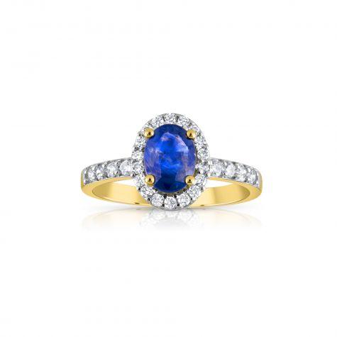 9ct Yellow Gold 0.30ct Diamond & Oval Sapphire yellow Gold Ring