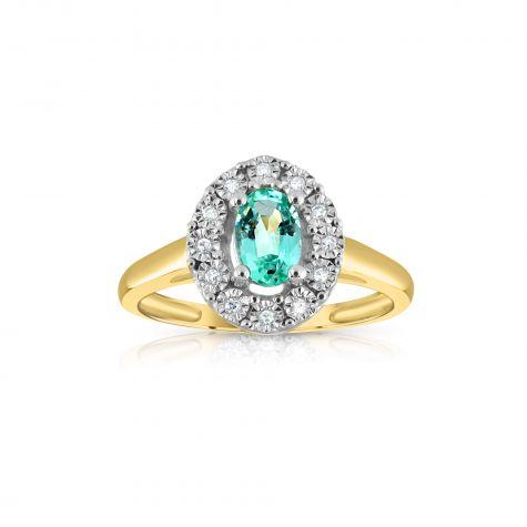 9ct Yellow Gold 0.40ct Emerald Cluster & 0.05ct Diamond Ring