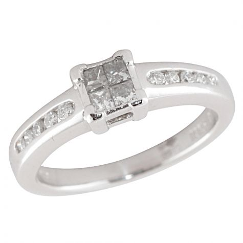 Pre-Owned Platinum 0.25ct Diamond Cluster Engagement Ring Size H