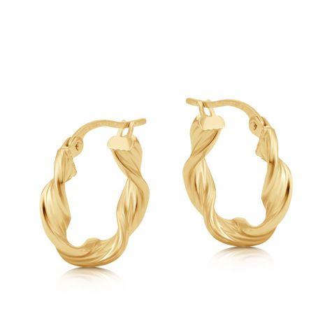 9ct Yellow Gold Round Twist Design Hoop Earrings - 17mm