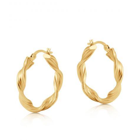 9ct Yellow Gold Round Twist Design Hoop Earrings - 24mm