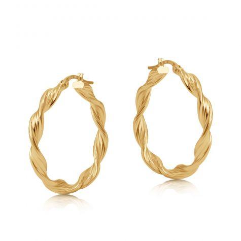 9ct Yellow Gold Round Twist Design Hoop Earrings - 28mm