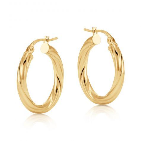 9ct Yellow Gold Twist Design Hoop Earrings - 20mm
