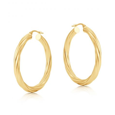 9ct Yellow Gold Round Twist Design Hoop Earrings - 37mm
