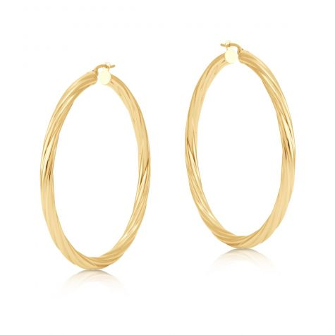 9ct Yellow Gold Round Twist Design Hoop Earrings - 57mm