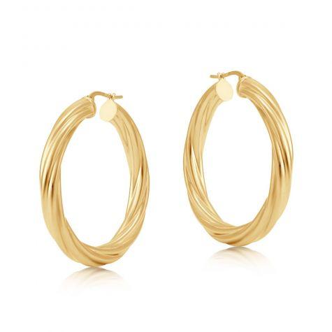 9ct Yellow Gold Round Twist Design Hoop Earrings - 40mm