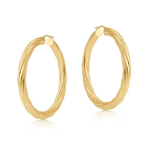 9ct Yellow Gold Round Twist Design Hoop Earrings - 50mm