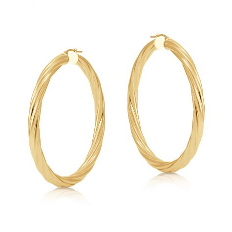 9ct Yellow Gold Round Twist Design Hoop Earrings - 58mm