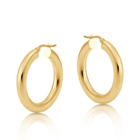 9ct Yellow Gold Smooth Round Tube Hoop Earrings - 27mm