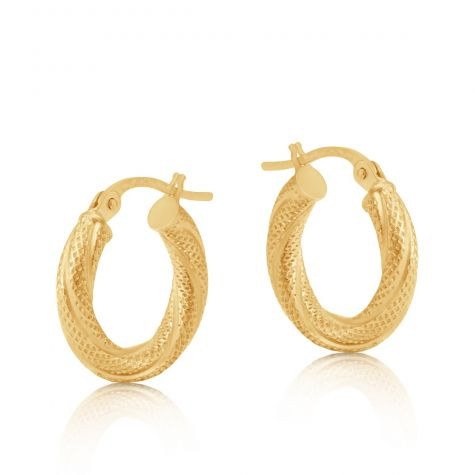 9ct Yellow Gold Frosted Round Twist Hoop Earrings - 16mm
