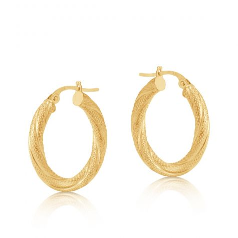 9ct Yellow Gold Round Frosted Twist Hoop Earrings - 21mm