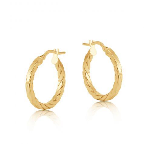 9ct Yellow Gold Flat Square Profile Twist Hoop Earrings - 20mm