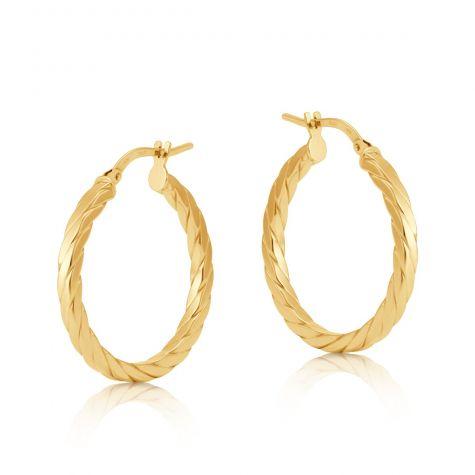 9ct Yellow Gold Round Twist Design Hoop Earrings - 25mm