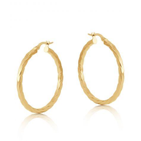 9ct Yellow Gold Flat Square Profile Twist Hoop Earrings - 33mm