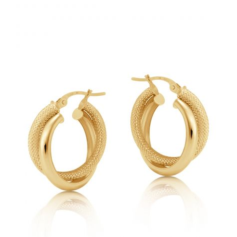 9ct Yellow Gold Frosted Twist Double Hoop Earrings - 23mm