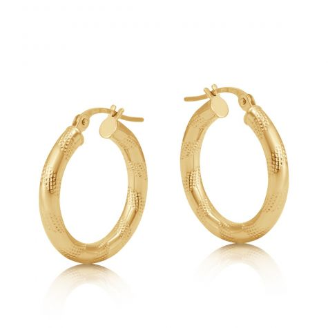 9ct Yellow Gold Frosted Round Twist Hoop Earrings - 21mm