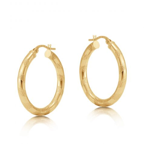 9ct Yellow Gold Round Frosted Twist Hoop Earrings - 25mm