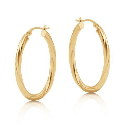 9ct Yellow Gold Oval Twist Hoop Earrings - 34mm