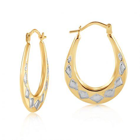 9ct White & Yellow Gold Diamond Cut Oval Hoop Earrings - 19mm