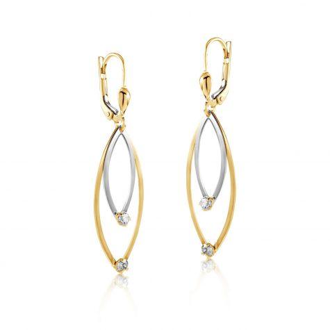 9ct Yellow & White Gold Fancy Cubic Zirconia Drop Earrings - 15mm