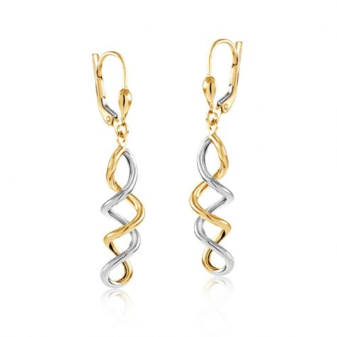 9ct Yellow & White Gold Spiral Drop Earrings - 8mm