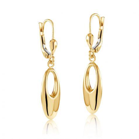 9ct Yellow Gold Fancy Open Oval Drop Earrings - 8mm