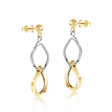 9ct Yellow & White Gold Fancy Link Drop Earrings - 11mm