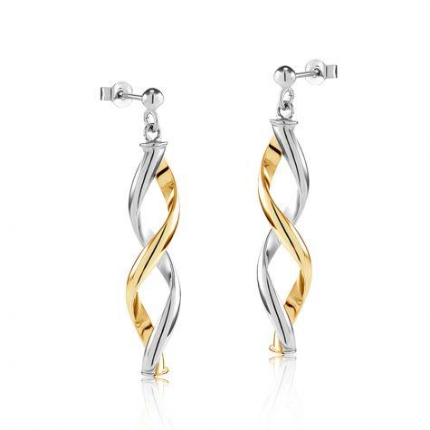 9ct Yellow & White Gold Fancy Twisted Drop Earrings - 9mm
