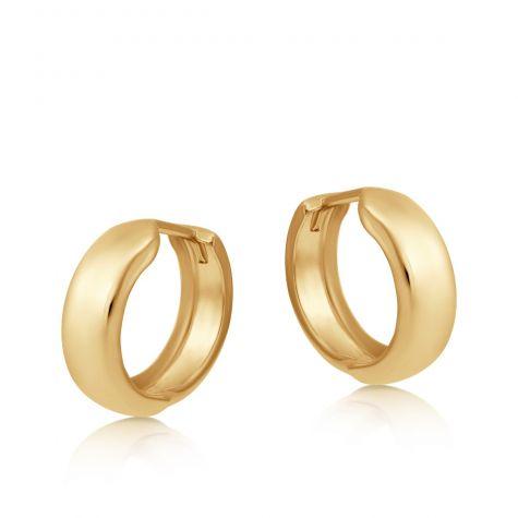 9ct Yellow Gold Smooth Huggie Round Hoop Earrings - 16mm