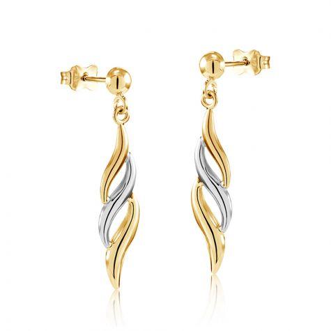9ct Yellow & White Gold Fancy Twist Drop Earrings -7mm