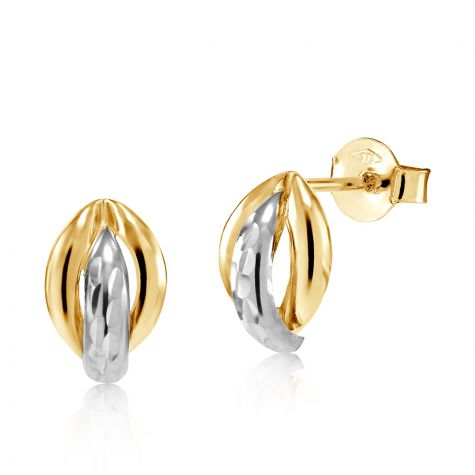 9ct Yellow & White Gold Fancy Knot Stud Earrings - 7mm