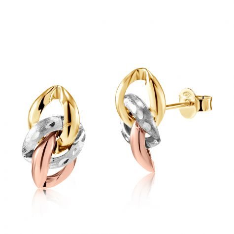 9ct Tri-Colour Link Knot Stud Earrings - 9mm