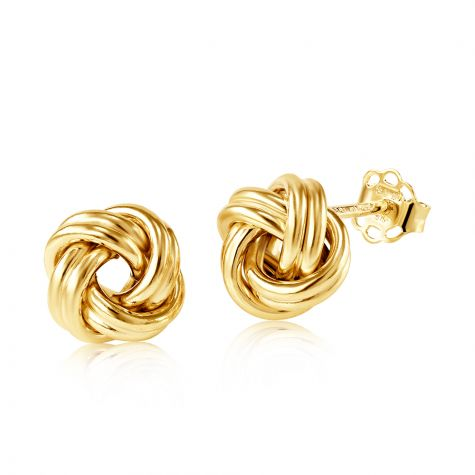 9ct Yellow Gold Round Knot Stud Earrings - 8mm
