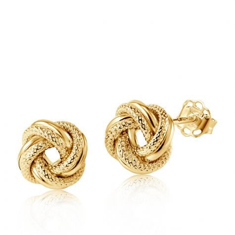 9ct Yellow Gold Round Patterned Knot Stud Earrings - 8mm