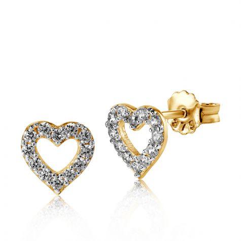 9ct Yellow Gold Cubic Zirconia Open Heart Stud Earrings - 8mm