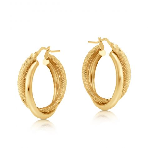 9ct Yellow Gold Frosted Twist Double Hoop Earrings - 29mm