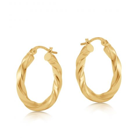 9ct Yellow Gold Round Twist Design Hoop Earrings - 21mm