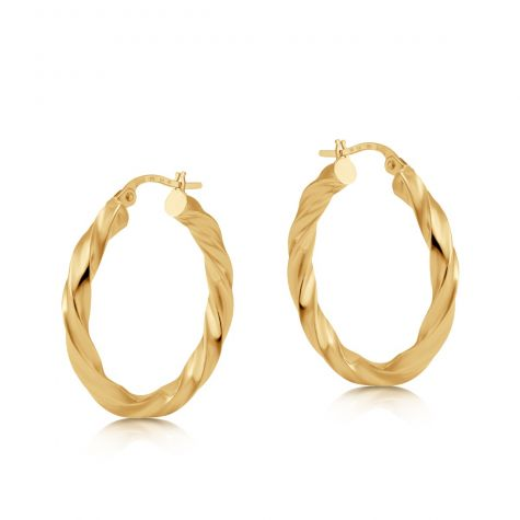 9ct Yellow Gold Round Twist Design Hoop Earrings - 26mm