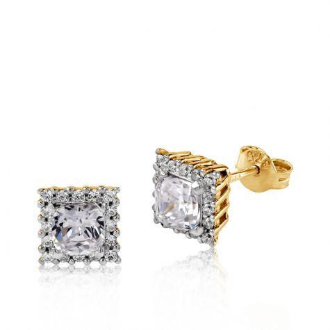 9ct Yellow Gold Princess Cut Cubic Zirconia Halo Stud Earrings -  8mm