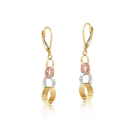 9ct Three Colour Interlink Chain Drop Earrings - 9mm