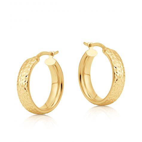9ct Yellow Gold Round Tyre Design Diamond Cut Hoop Earrings - 20mm