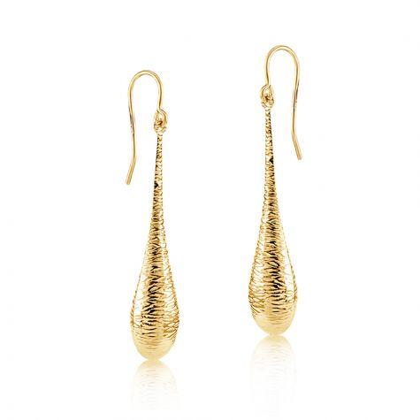 9ct Yellow Gold Imprint Drop Hook Earrings - 9mm