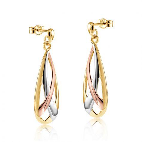 9ct Gold Three Colour Teardrop Earrings - 10mm